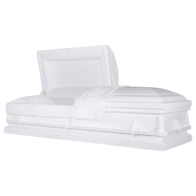 Andover Series | White Steel Casket with White Interior and White Hardware - Titan Casket