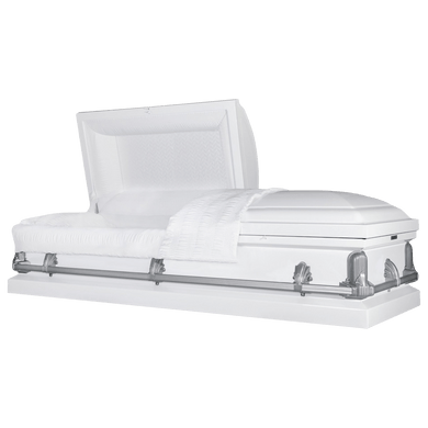 Andover Series | White Steel Casket with White Interior and Gray Hardware - Titan Casket