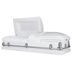 Titan Andover Series | White Steel Casket with White Interior and Gray Hardware - Titan Casket
