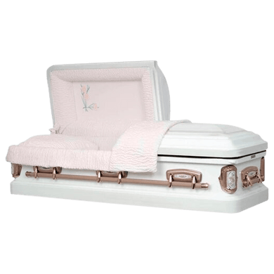 Paris Rose II | White Steel Casket with Pink Interior - Titan Casket