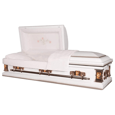 Paris Rose | White Steel Casket with Pink Interior - Titan Casket