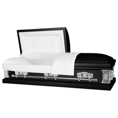 Titan Satin Series | Black Steel Casket with White Interior - Titan Casket