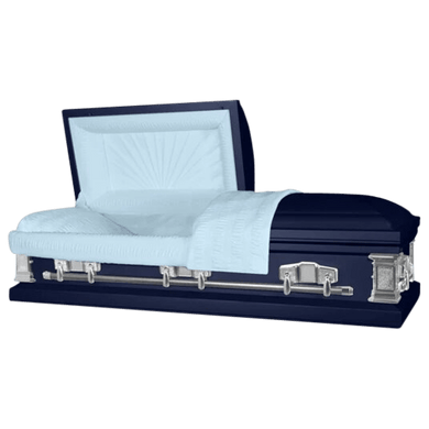 Satin Series | Dark Blue Steel Casket with Light Blue Interior - Titan Casket