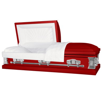 Satin Series | Red Steel Casket with White Interior - Titan Casket