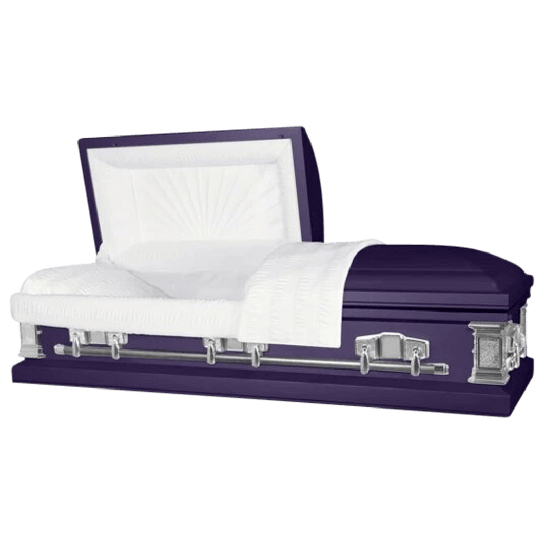 Titan Satin Series | Royal Purple Steel Casket with White Interior - Titan Casket