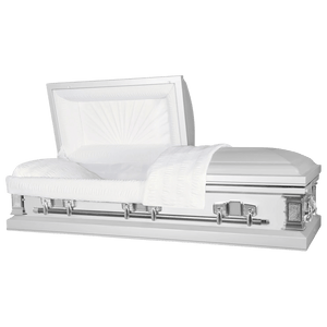 Titan Satin Series | White Steel Casket with White Interior - Titan Casket