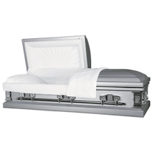 Load image into Gallery viewer, Titan Satin Series | Silver Steel Casket with White Interior