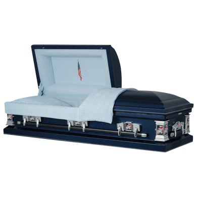 Veteran | Dark Blue Steel Casket with Light Blue Interior and Flag at Rest Head Panel - Titan Casket