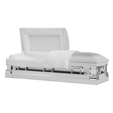 Titan Era Series | White Stainless Steel Casket with White Interior - Titan Casket