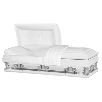Titan Jupiter XL | White Steel Oversize Casket with White Interior | 28