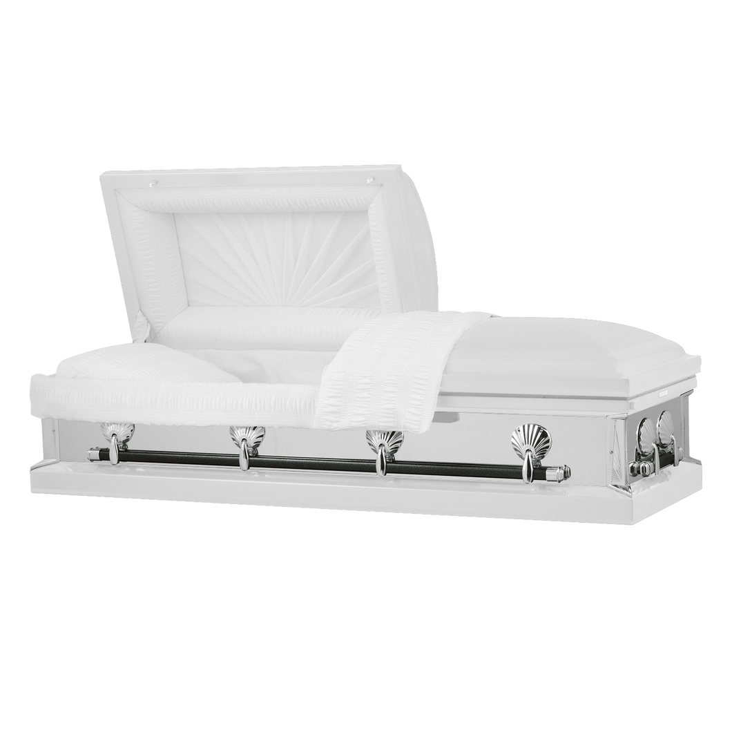 Titan Reflections Series | White Steel Casket with White Interior - Titan Casket