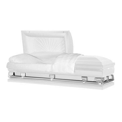 Titan Atlas XL | White Steel Oversize Casket with White Interior | 150+ Head Panel Options | 28