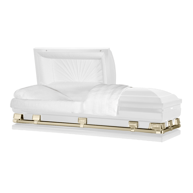 Atlas XL | White and Gold Steel Oversize Casket with White Interior | 150+ Head Panel Options | 28