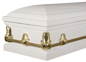 Titan Orion Series Steel Casket White and Gold Foot End Angle