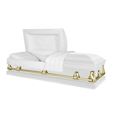Orion Series | White and Gold Steel Casket with White Interior - Titan Casket