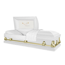 Load image into Gallery viewer, Titan Orion Series | White and Gold Steel Casket with White Interior - Titan Casket