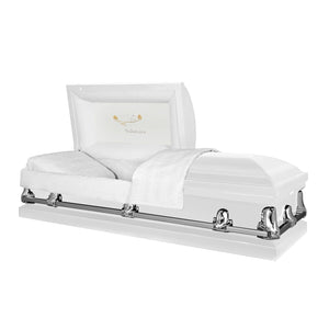 Orion Series | White Steel Casket with White Interior - Titan Casket