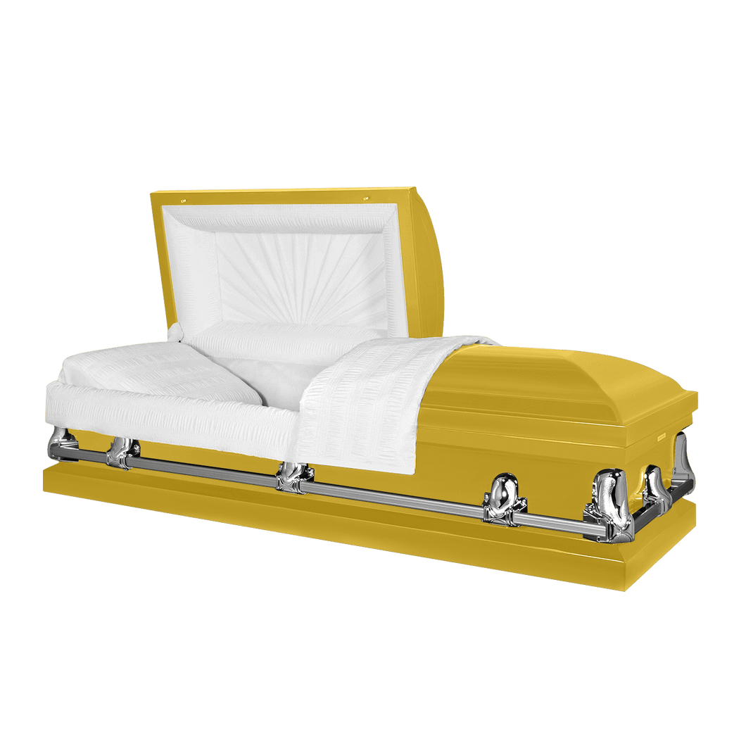 Titan Orion Series | Bright Yellow Steel Casket with White Interior - Titan Casket