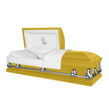Load image into Gallery viewer, Titan Orion Series | Bright Yellow Steel Casket with White Interior - Titan Casket