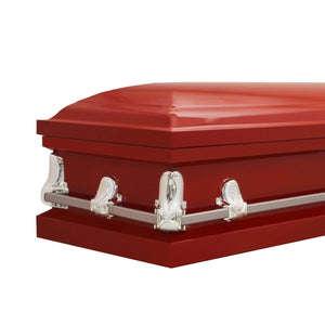 Titan Orion Series Steel Casket Red End Angle View
