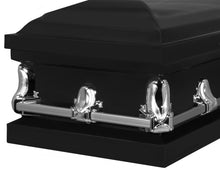 Load image into Gallery viewer, Titan Orion Series Black Steel Casket Black End Angle View