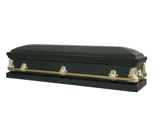 Titan Orion Series | Hunter Green Steel Burial Casket with White Interior - Titan Casket