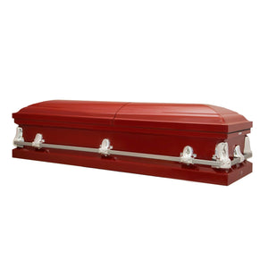 Titan Orion Series Steel Casket Red Closed View