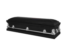 Load image into Gallery viewer, Titan Orion Series Black Steel Casket Black Closed Full View