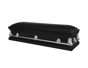 Titan Orion Series Black Steel Casket Black Closed Full View