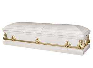 Titan Orion Series Steel Casket White and Gold Closed View