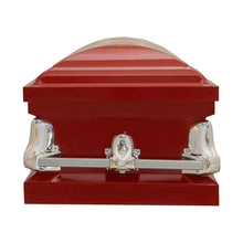 Load image into Gallery viewer, Titan Orion Series Steel Casket Red Foot End View