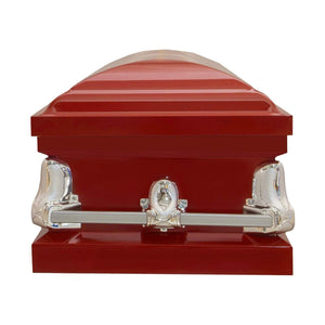 Titan Orion Series | Red Steel Casket with White Interior - Titan Casket