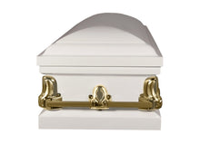 Titan Orion Series Steel Casket White and Gold Foot End View