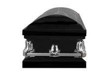 Load image into Gallery viewer, Titan Orion Series Black Steel Casket Black Foot End View