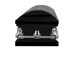 Titan Orion Series Black Steel Casket Black Foot End View