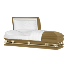 "Load image into Gallery viewer, Titan Atlas XL | Gold Steel Oversize Casket with White Interior |  150+ Head Panel Options | 28"", 29"", 33"", 36"" - Titan Casket"