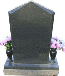 Fully customizable premium beveled top monument headstone for grave site made by Katzman Monument Company
