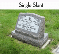 Fully customizable premium single slant headstone for grave site made by Katzman Monument Company