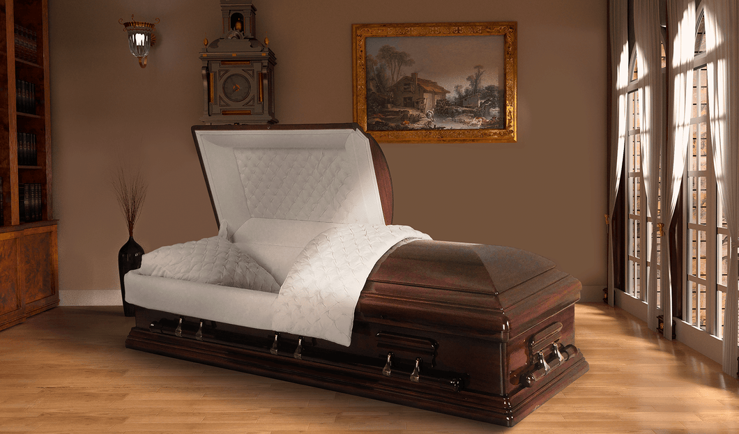 Harbor Caskets -The Harbor Mahogany I. Solid Mahogany Hardwood Casket. Comes with Light Beige, Tufted Pattern Velvet Interior, a Hand Rubbed Finish, Swing Bars, and an Adjustable Bed.