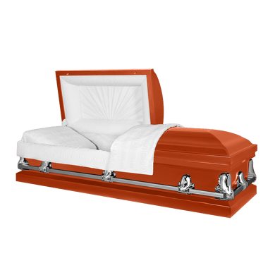 Titan Orion Series | Orange Steel Casket with White Interior - Titan Casket