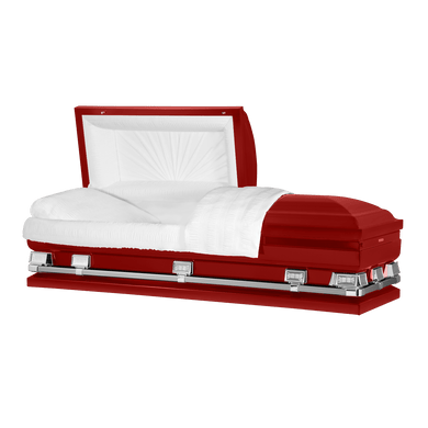 Atlas XL | Red Steel Oversize Casket with White Interior | 150+ Head Panel Options | 28