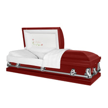 Load image into Gallery viewer, Titan Orion Series | Red Steel Casket with White Interior - Titan Casket
