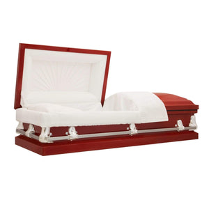 Titan Orion Series Steel Casket Red Alternate Angle View