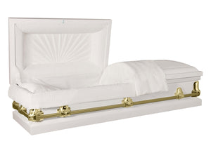 Titan Orion Series Steel Casket White and Gold Alternate Angle