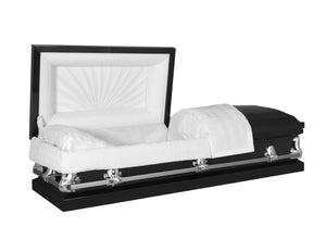 Titan Orion Series Black Steel Casket Reverse Angle Open View