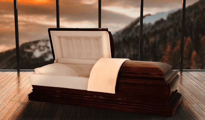 Harbor Caskets -The Harbor Mahogany II. Solid Mahogany Hardwood Casket. Comes with Light Pearl, Tailored Finish Velvet Interior, a Hand Rubbed Finish, No Bars, and an Adjustable Bed.