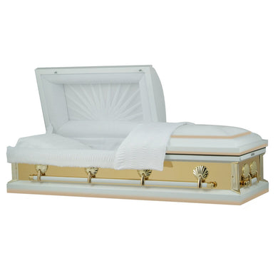 Reflections Series | White and Gold Steel Casket with White Interior - Titan Casket