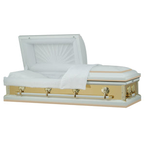 Titan Reflections Series | White and Gold Steel Casket with White Interior - Titan Casket