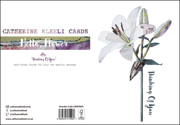CKHF01 'Lily -Thinking of you' Greetings Card (packed in 6's)