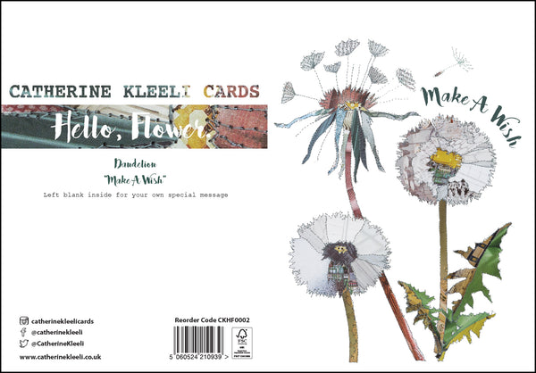 CKHF02 'Dandelion - Make a wish' Greetings Card (packed in 6's)